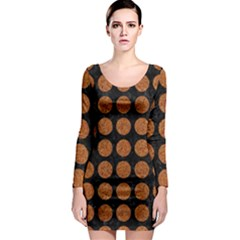 CIRCLES1 BLACK MARBLE & RUSTED METAL (R) Long Sleeve Bodycon Dress