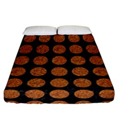 CIRCLES1 BLACK MARBLE & RUSTED METAL (R) Fitted Sheet (California King Size)