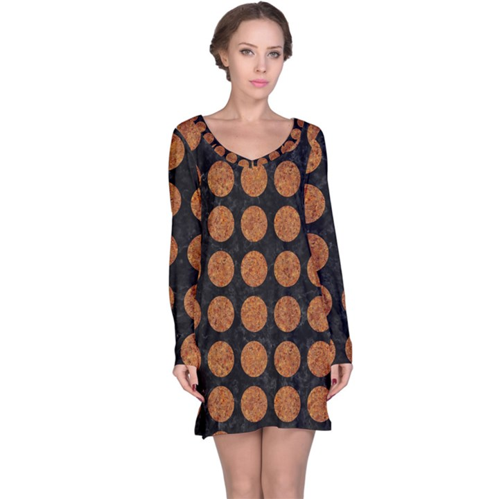 CIRCLES1 BLACK MARBLE & RUSTED METAL (R) Long Sleeve Nightdress