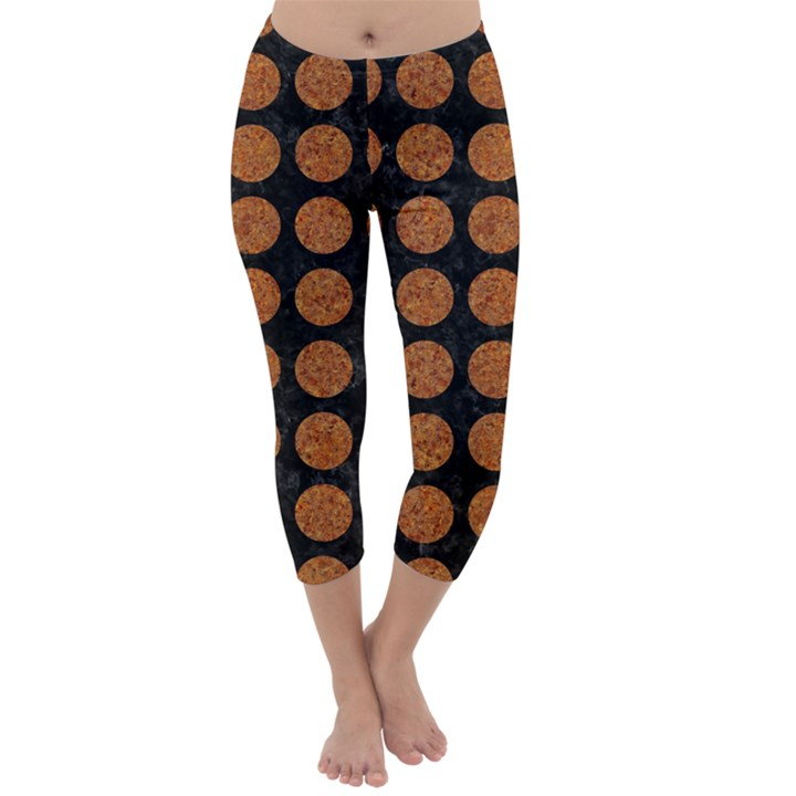 CIRCLES1 BLACK MARBLE & RUSTED METAL (R) Capri Winter Leggings