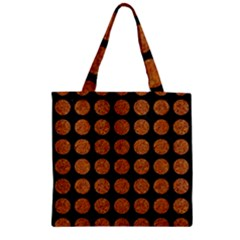 CIRCLES1 BLACK MARBLE & RUSTED METAL (R) Zipper Grocery Tote Bag