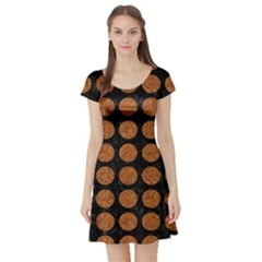 CIRCLES1 BLACK MARBLE & RUSTED METAL (R) Short Sleeve Skater Dress