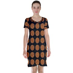 CIRCLES1 BLACK MARBLE & RUSTED METAL (R) Short Sleeve Nightdress