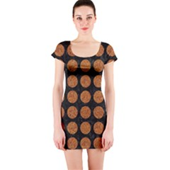 CIRCLES1 BLACK MARBLE & RUSTED METAL (R) Short Sleeve Bodycon Dress