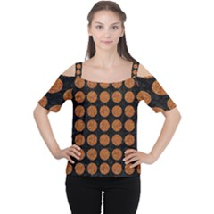 CIRCLES1 BLACK MARBLE & RUSTED METAL (R) Cutout Shoulder Tee