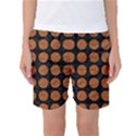 CIRCLES1 BLACK MARBLE & RUSTED METAL (R) Women s Basketball Shorts View1