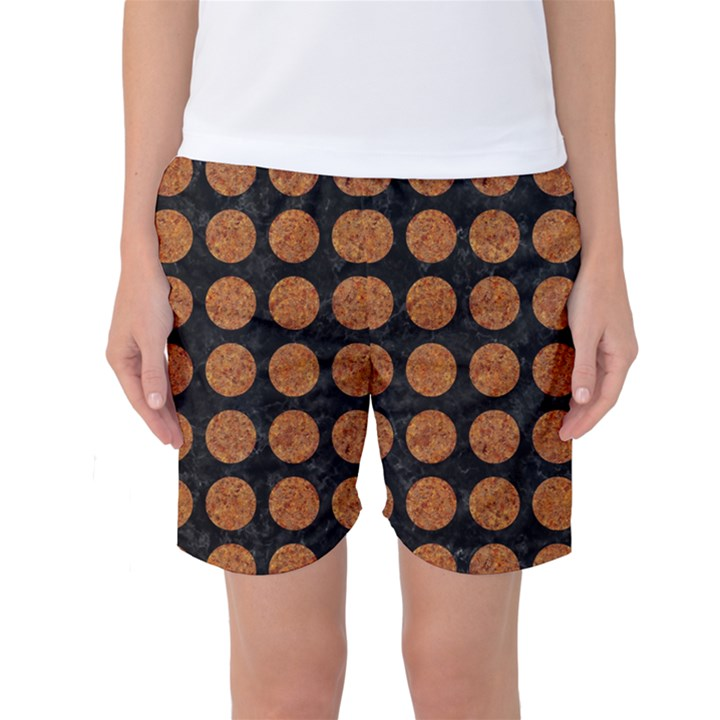 CIRCLES1 BLACK MARBLE & RUSTED METAL (R) Women s Basketball Shorts