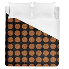 CIRCLES1 BLACK MARBLE & RUSTED METAL (R) Duvet Cover (Queen Size)