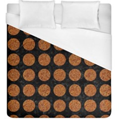 CIRCLES1 BLACK MARBLE & RUSTED METAL (R) Duvet Cover (King Size)