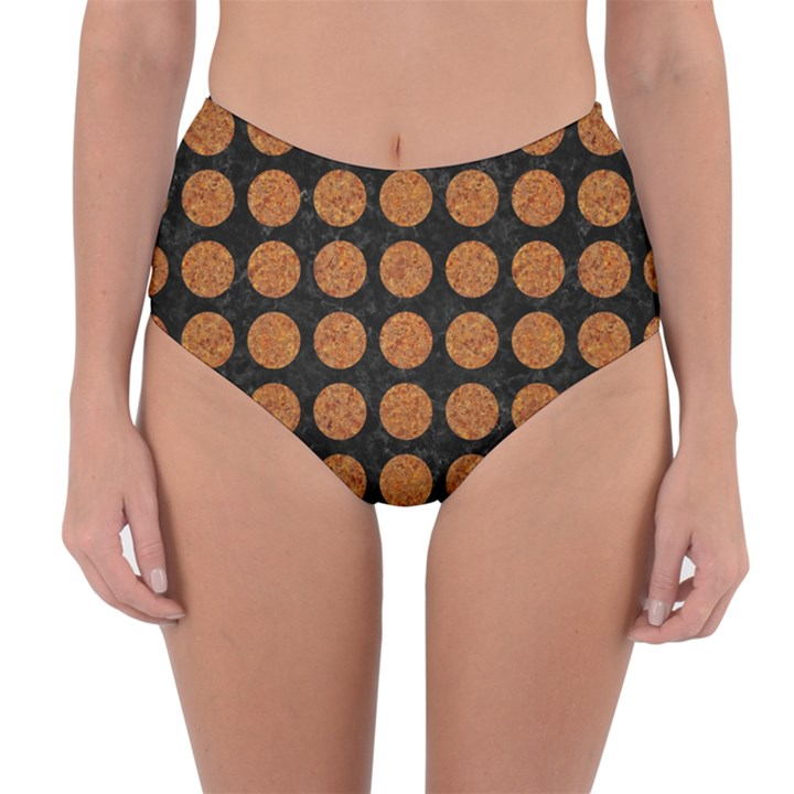 CIRCLES1 BLACK MARBLE & RUSTED METAL (R) Reversible High-Waist Bikini Bottoms