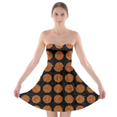 CIRCLES1 BLACK MARBLE & RUSTED METAL (R) Strapless Bra Top Dress