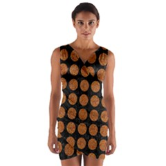 CIRCLES1 BLACK MARBLE & RUSTED METAL (R) Wrap Front Bodycon Dress