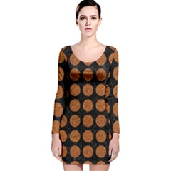 CIRCLES1 BLACK MARBLE & RUSTED METAL (R) Long Sleeve Velvet Bodycon Dress