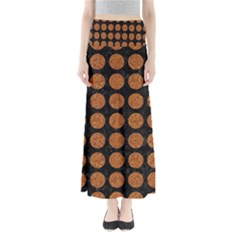 CIRCLES1 BLACK MARBLE & RUSTED METAL (R) Full Length Maxi Skirt