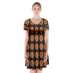 CIRCLES1 BLACK MARBLE & RUSTED METAL (R) Short Sleeve V-neck Flare Dress