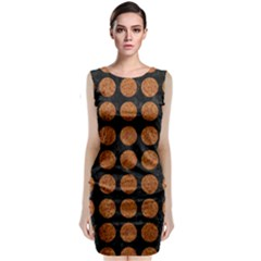 Circles1 Black Marble & Rusted Metal (r) Classic Sleeveless Midi Dress