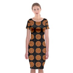 CIRCLES1 BLACK MARBLE & RUSTED METAL (R) Classic Short Sleeve Midi Dress