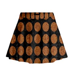 CIRCLES1 BLACK MARBLE & RUSTED METAL (R) Mini Flare Skirt