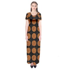 Circles1 Black Marble & Rusted Metal (r) Short Sleeve Maxi Dress