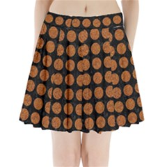 Circles1 Black Marble & Rusted Metal (r) Pleated Mini Skirt