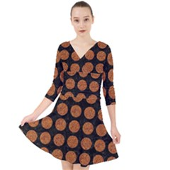 CIRCLES1 BLACK MARBLE & RUSTED METAL (R) Quarter Sleeve Front Wrap Dress