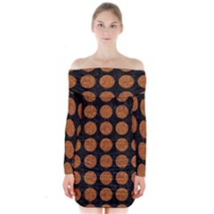 CIRCLES1 BLACK MARBLE & RUSTED METAL (R) Long Sleeve Off Shoulder Dress