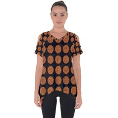 CIRCLES1 BLACK MARBLE & RUSTED METAL (R) Cut Out Side Drop Tee