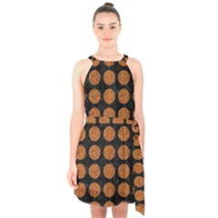 CIRCLES1 BLACK MARBLE & RUSTED METAL (R) Halter Collar Waist Tie Chiffon Dress
