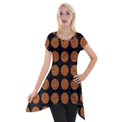 CIRCLES1 BLACK MARBLE & RUSTED METAL (R) Short Sleeve Side Drop Tunic