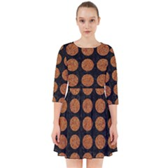 CIRCLES1 BLACK MARBLE & RUSTED METAL (R) Smock Dress