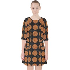 CIRCLES1 BLACK MARBLE & RUSTED METAL (R) Pocket Dress