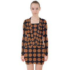 CIRCLES1 BLACK MARBLE & RUSTED METAL (R) V-neck Bodycon Long Sleeve Dress