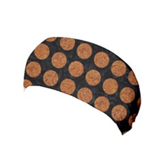 Circles1 Black Marble & Rusted Metal (r) Yoga Headband