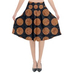 CIRCLES1 BLACK MARBLE & RUSTED METAL (R) Flared Midi Skirt
