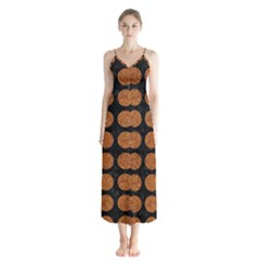 CIRCLES1 BLACK MARBLE & RUSTED METAL (R) Button Up Chiffon Maxi Dress