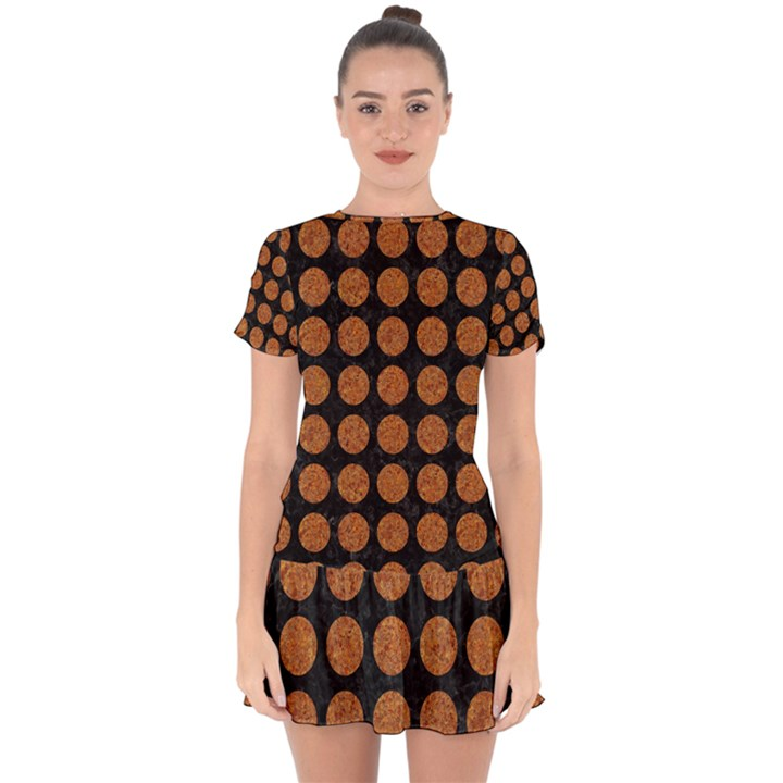 CIRCLES1 BLACK MARBLE & RUSTED METAL (R) Drop Hem Mini Chiffon Dress