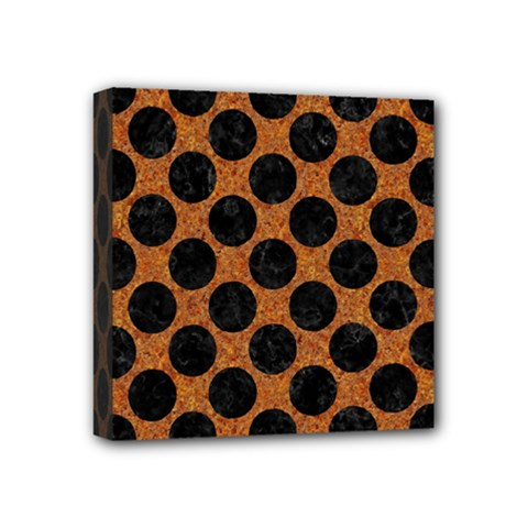Circles2 Black Marble & Rusted Metal Mini Canvas 4  X 4  by trendistuff