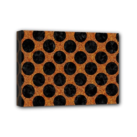 Circles2 Black Marble & Rusted Metal Mini Canvas 7  X 5  by trendistuff