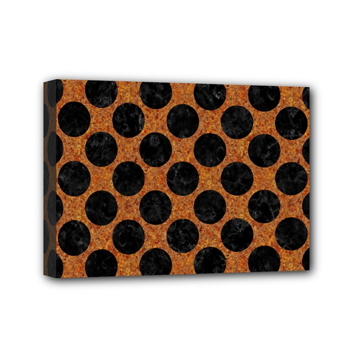 CIRCLES2 BLACK MARBLE & RUSTED METAL Mini Canvas 7  x 5