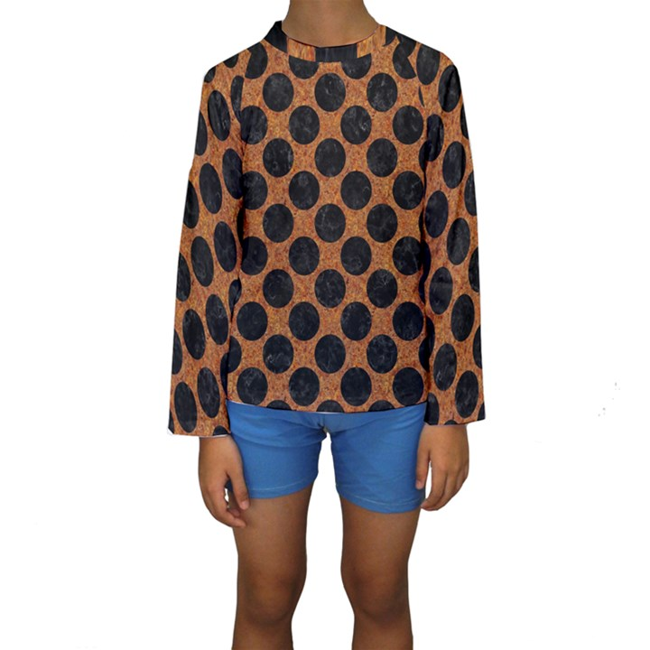 CIRCLES2 BLACK MARBLE & RUSTED METAL Kids  Long Sleeve Swimwear
