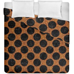 Circles2 Black Marble & Rusted Metal Duvet Cover Double Side (king Size) by trendistuff