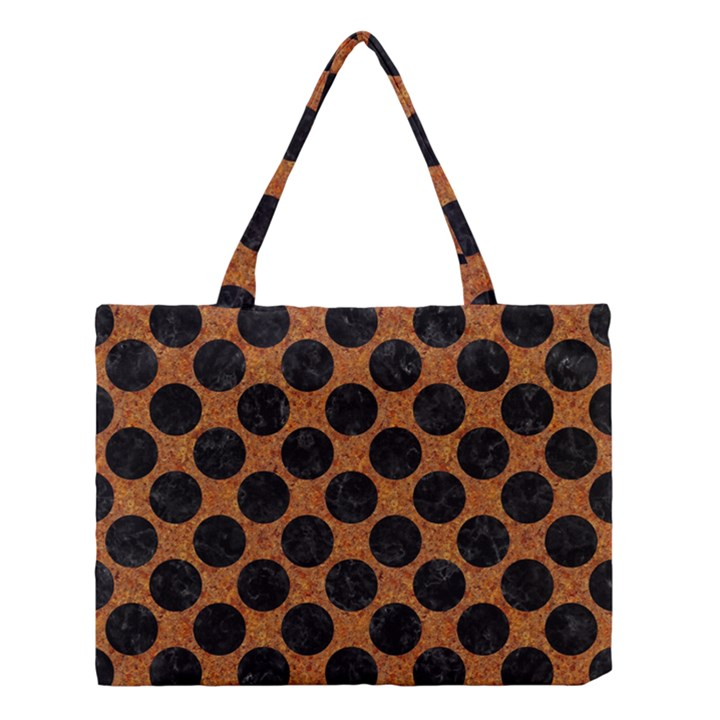 CIRCLES2 BLACK MARBLE & RUSTED METAL Medium Tote Bag