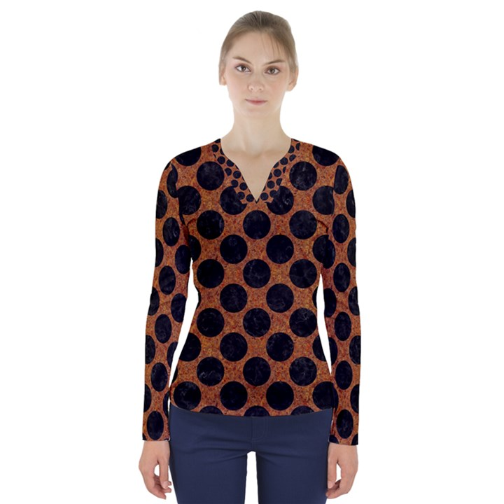 CIRCLES2 BLACK MARBLE & RUSTED METAL V-Neck Long Sleeve Top