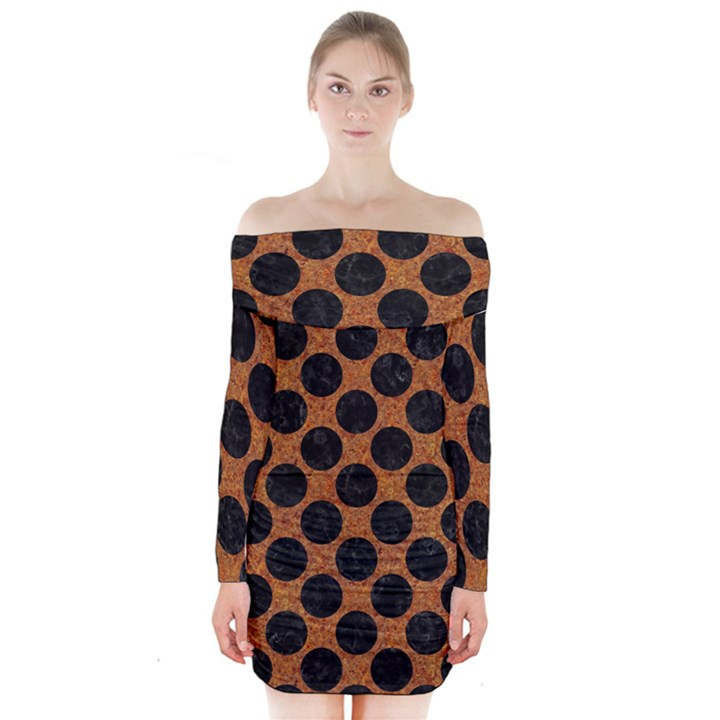 CIRCLES2 BLACK MARBLE & RUSTED METAL Long Sleeve Off Shoulder Dress