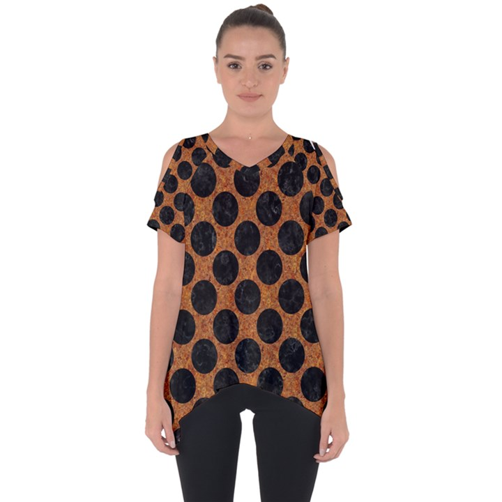 CIRCLES2 BLACK MARBLE & RUSTED METAL Cut Out Side Drop Tee