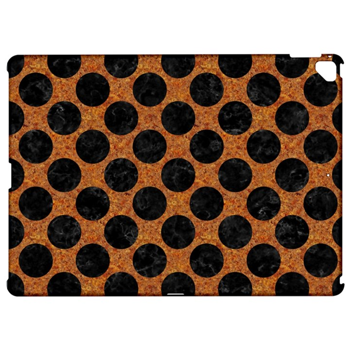 CIRCLES2 BLACK MARBLE & RUSTED METAL Apple iPad Pro 12.9   Hardshell Case