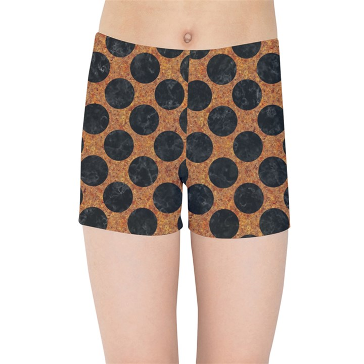 CIRCLES2 BLACK MARBLE & RUSTED METAL Kids Sports Shorts