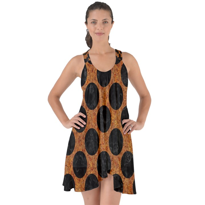 CIRCLES2 BLACK MARBLE & RUSTED METAL Show Some Back Chiffon Dress