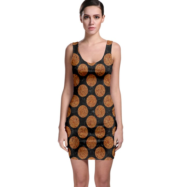 CIRCLES2 BLACK MARBLE & RUSTED METAL (R) Bodycon Dress
