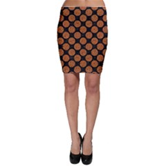 CIRCLES2 BLACK MARBLE & RUSTED METAL (R) Bodycon Skirt